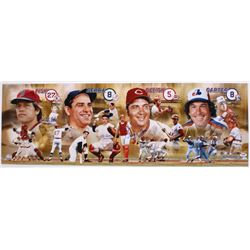 "Hall Of Fame Catchers 12"" x 36"" Photo Signed by (4) With Carlton Fisk, Yogi Berra, Johnny Bench  Gar"