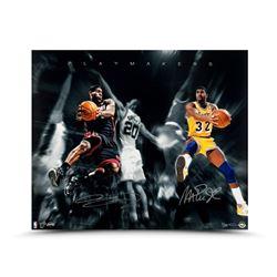 """Magic Johnson  LeBron James Dual-Signed """"Playmakers"""" 20x24 Photo LE of 50 (UDA COA)"""