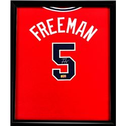 Freddie Freeman Signed Braves 23x27 Custom Framed Jersey (Radtke COA)