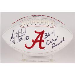 "AJ McCarron Signed Alabama Crimson Tide Logo Football Inscribed ""36-4 Career Record"" (Radtke Hologra"