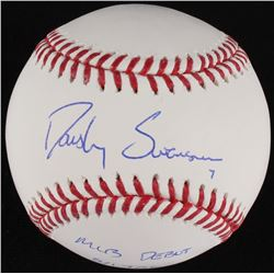 "Dansby Swanson Signed OML Baseball Inscribed ""MLB Debut 8/17/16"" (MLB Hologram)"