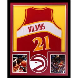 Dominique Wilkins Signed Hawks 34x42 Custom Framed Jersey (Tristar)
