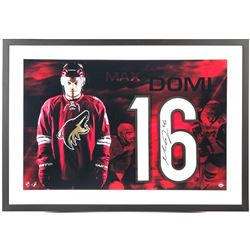 "Max Domi Signed Coyotes ""Spotlight"" 18x28 Custom Framed Jersey Number Display (UDA COA)"