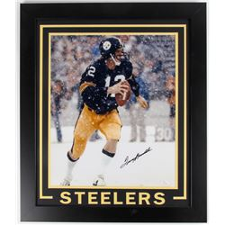 Terry Bradshaw Signed Steelers 23.5x27.5 Framed Photo Display (JSA COA)