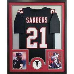 Deion Sanders Signed Falcons 34x42 Custom Framed Jersey (Radtke COA)