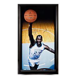 Michael Jordan Signed UNC 25x45 Custom Framed Photo Display with Basketball Breaking Through (UDA CO