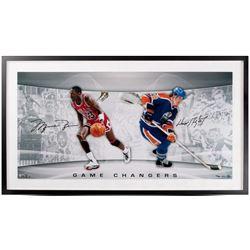 "Michael Jordan  Wayne Gretzky Signed ""Game Changers"" LE 18x36 Custom Framed Photo (UDA COA)"