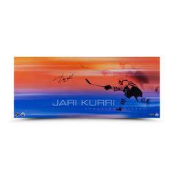 "Jari Kurri Signed Oilers ""19 Playoff Goals"" 11x26 Photo (UDA COA)"