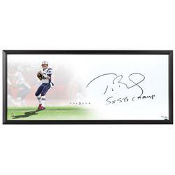 "Tom Brady Signed Patriots ""The Show"" 20x46 LE Custom Framed Lithograph Inscribed ""5x SB Champ"" (UDA"