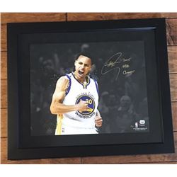 """Stephen Curry Signed Warriors 16x20 Limited Edition Custom Framed Photo Inscribed """"2015 NBA Champs"""""""