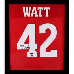 T.J. Watt Signed Wisconsin Badgers 23x27 Custom Framed Jersey (Radtke COA)