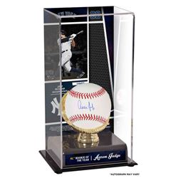 """Aaron Judge Signed """"2017 Rookie of the Year"""" 10x5x5.5 Baseball with Display Case (Fanatics)"""