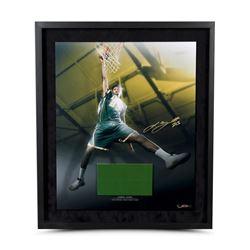 LeBron James Signed High School Dunk Photo  Game-Used Floor Piece Custom Framed Display (UDA COA)