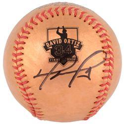 David Ortiz Signed Gold Retirement Baseball (MLB Hologram)