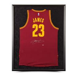 LeBron James Signed Cavaliers 32x38 Custom Framed Jersey (UDA COA)