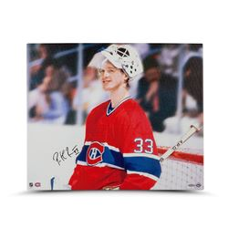 "Patrick Roy Signed Canadiens ""Beginnings"" 20x24 Photo on Canvas (UDA COA)"