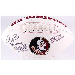 Jameis Winston, Charlie Ward  Chris Weinke Signed Florida State Seminoles Logo Football With (3) Ins