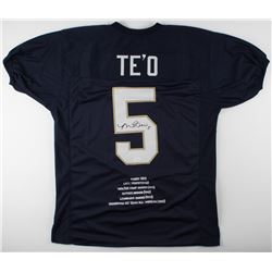 Manti Te'o Signed Notre Dame Fighting Irish Career Highlight Stat Jersey (JSA COA)