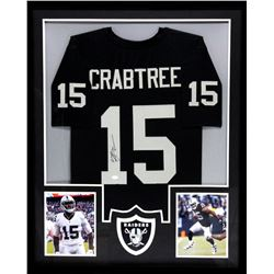 Michael Crabtree Signed Raiders 34x42 Custom Framed Jersey (JSA COA)