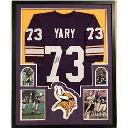 "Ron Yary Signed Vikings 34x42 Custom Framed Jersey Inscribed ""HOF 01"" (JSA COA)"