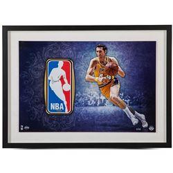 Jerry West Signed LE Lakers 16x24 Custom Framed NBA Logo Patch Display (UDA COA)