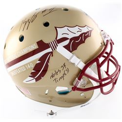Kelvin Benjamin Signed Florida State Seminoles 2013 BCS Championship Logo Full-Size Authentic On-Fie