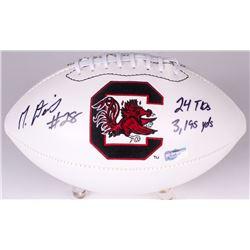 "Mike Davis Signed South Carolina Logo Football Inscribed ""24 TDs, 3195 Yds"" (Radtke COA)"