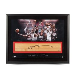 """Allen Iverson Signed 76ers """"The Question"""" LE 24x36 Custom Framed Game-Used Floor Piece Display (UDA"""