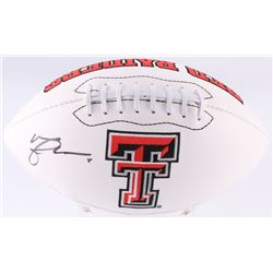 Michael Crabtree Signed Texas Tech Red Raiders Logo Football (JSA COA)