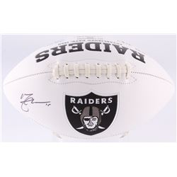 Michael Crabtree Signed Raiders Logo Football Inscribed (JSA COA)