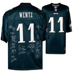 Philadelphia Eagles Jersey Signed by (20) with Carson Wentz, Nick Foles, Fletcher Cox, Chris Long, J
