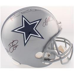 "Troy Aikman, Emmitt Smith  Michael Irvin ""The Triplets"" Signed Cowboys Full-Size Helmet (JSA Hologra"