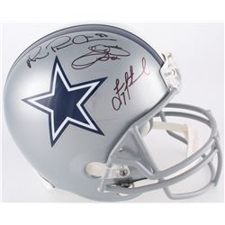 "Troy Aikman, Emmitt Smith  Michael Irvin ""The Triplets"" Signed Cowboys Full-Size Helmet (JSA COA, Pr"