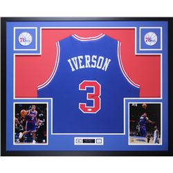 Allen Iverson Signed 76ers 35x43 Custom Framed Jersey Display (JSA COA)