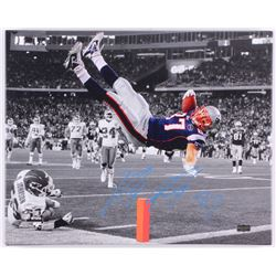 Rob Gronkowski Signed Patriots 16x20 Custom Framed Photo on Canvas (Radtke COA)