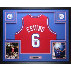 """Julius """"Dr. J"""" Erving Signed 76ers 35"""" x 43"""" Custom Framed Jersey (JSA COA)"""