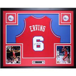 """Julius Erving Signed 76ers 35"""" x 43"""" Custom Framed Jersey (JSA COA)"""