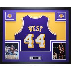 Jerry West Signed Lakers 35x43 Custom Framed Jersey (JSA COA)