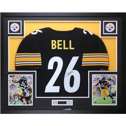 Leveon Bell Signed Steelers 35x43 Custom Framed Jersey (JSA COA)