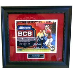 "AJ McCarron Signed Alabama Crimson 23x27 Custom Framed Photo Display Inscribed ""Alabama 21 LSU 0"" (R"