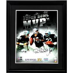 "Fred Biletnikoff, Jim Plunkett,  Marcus Allen Signed ""Super Bowl MVP's"" 23x27 Custom Framed Photo Di"