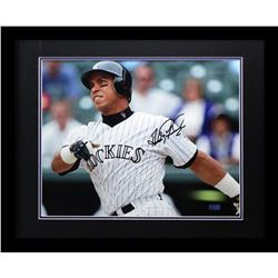 Andres Galarraga Signed Rockies 23x27 Custom Framed Photo Display (Radtke COA)