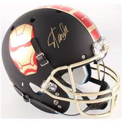 """Stan Lee Signed Custom Matte Black """"Iron Man"""" Full-Size Helmet (Radtke COA  Lee Hologram)"""