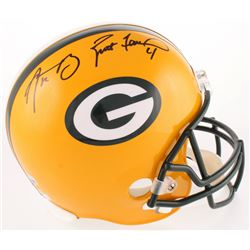 Aaron Rodgers  Brett Favre Signed Packers Full-Size Helmet (Fanatics Hologram  Radtke COA)