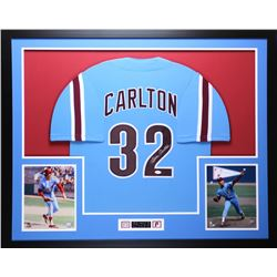 Steve Carlton Signed Phillies 35x43 Custom Framed Jersey (JSA COA)