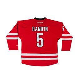 "Noah Hanifin Signed Red Reebok Premier Carolina Hurricanes Jersey Inscribed ""1st Goal 11/16/15"" (UDA"