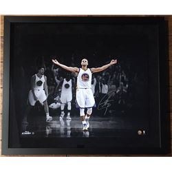"""Stephen Curry Signed Warriors """"3 Point Celebration"""" 20x24 Custom Framed Limited Edition Photo (Stein"""