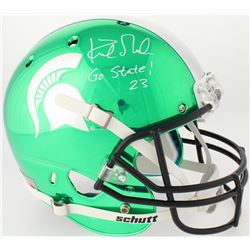 """Kirk Gibson Signed Michigan State Spartans Custom Green Chrome Full-Size Helmet Inscribed """"Go State!"""