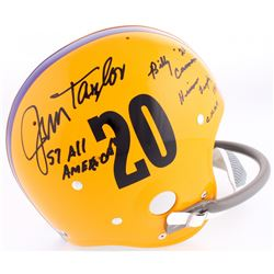 Billy Cannon  Jim Taylor Signed LSU Tigers Authentic Throwback Suspension Full-Size Helmet with (3)