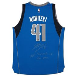 "Dirk Nowitzki Signed Mavericks Limited Edition Adidas Jersey Inscribed ""16/17 Teammate of the Year"""